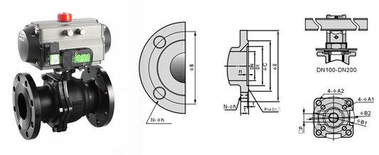 气动铸钢球阀结构图